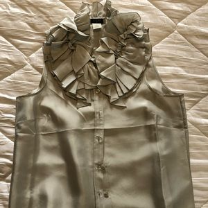 Jcrew silk ruffled collar tank